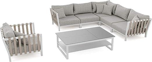 ARTELIA Atika - Juego de muebles de jardín de aluminio, mesa de comedor, juego para jardín, terraza y terraza, color blanco: Amazon.es: Jardín