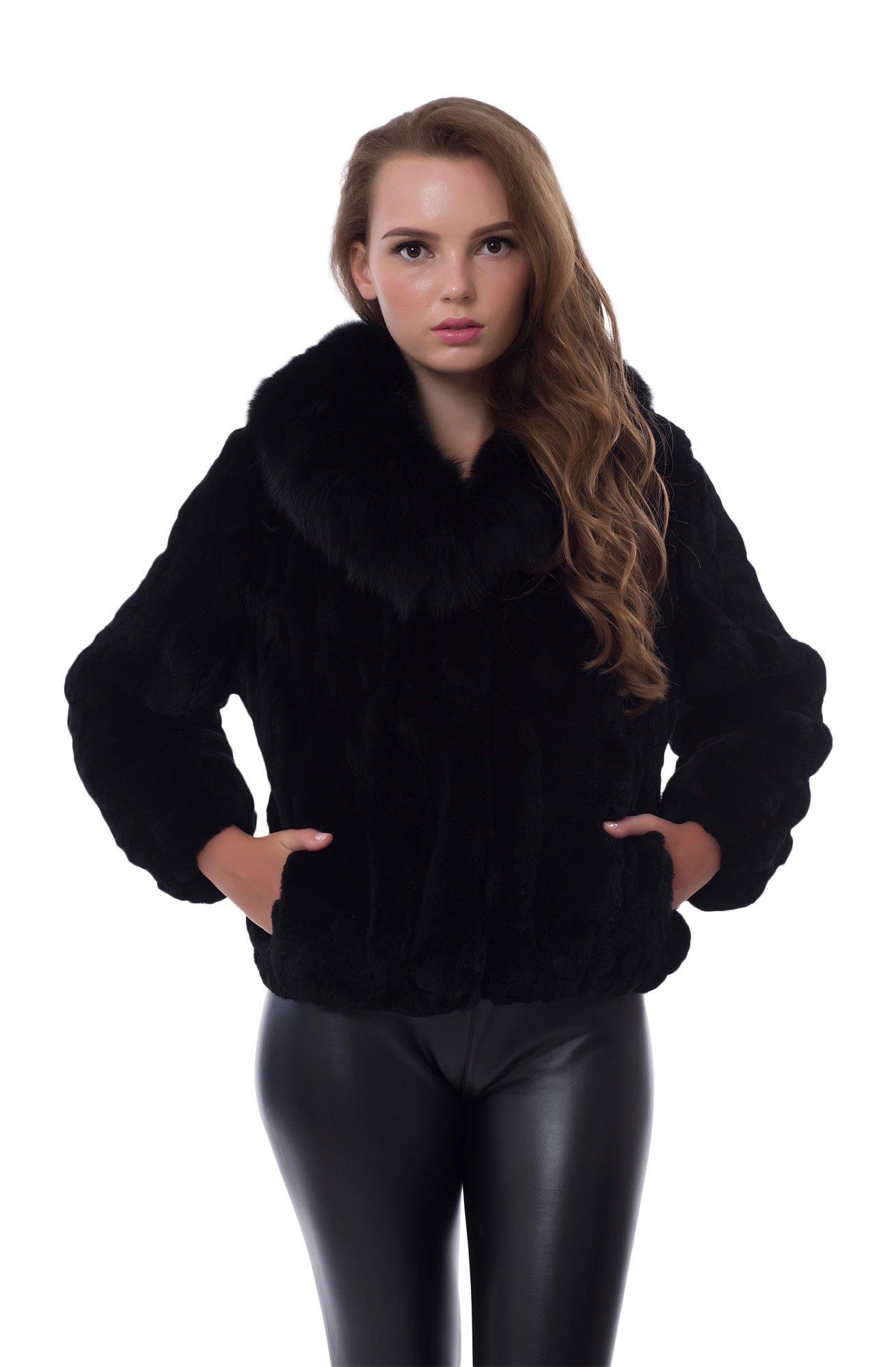 OBURLA Genuine Rex Rabbit Fur Black Ladies Coat, Real Fur Jacket With Fox Collar (Small)