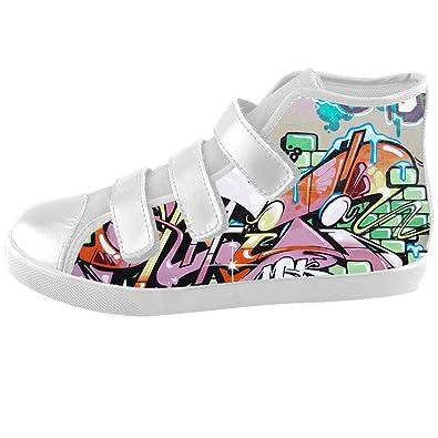 20a126e653 Custom graffiti Kids High-top Canvas Shoes Footwear Sneakers Shoes   Amazon.co.uk  Shoes   Bags