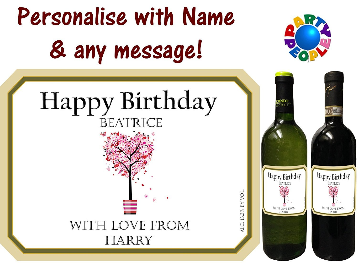 c53c0a69110 PERSONALISED WINE BOTTLE LABEL - ANY MESSAGE AND NAME (Type 3)   Amazon.co.uk  Toys   Games