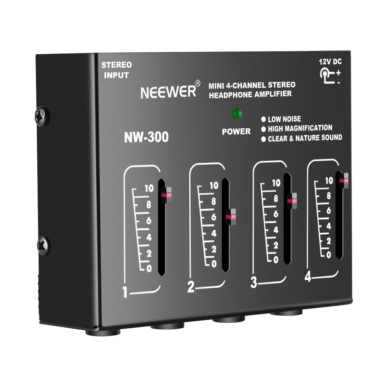 Neewer Compact 4-Channel Stereo Headphone Amplifier with DC 12V Adapter for Sound Reinforcement, Studio, Choir and Personal Recording Neewer® 40088067@@1