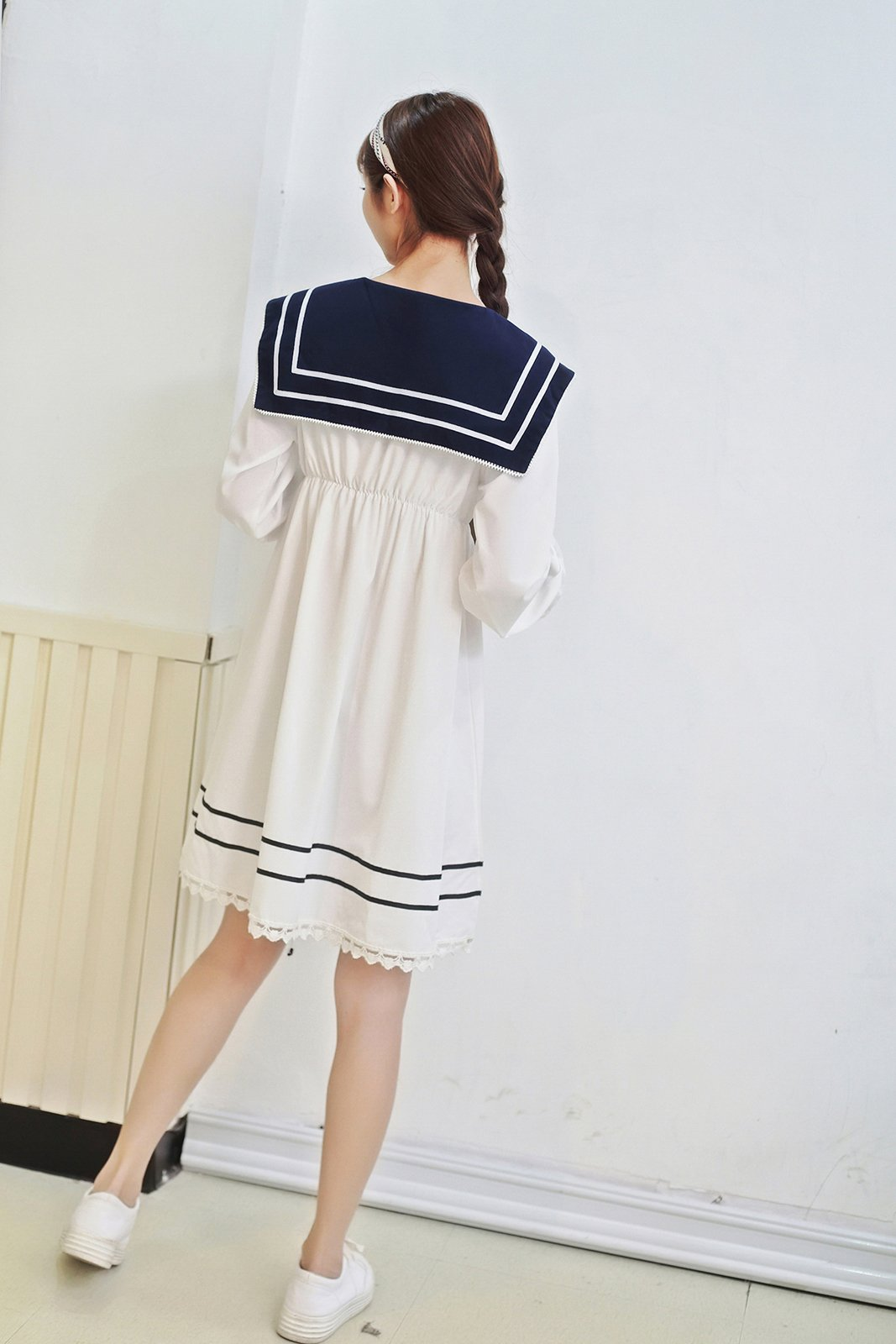 Lemail Girls Sailor School Uniform Chiffon Japanese Long Sleeve Pleated Mini Dress Blue 3XL by Lemail wig (Image #5)