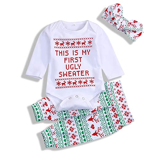 ff8271fc1 Amazon.com  3Pcs Infant Baby Girls Boys Christmas Outfits Long ...