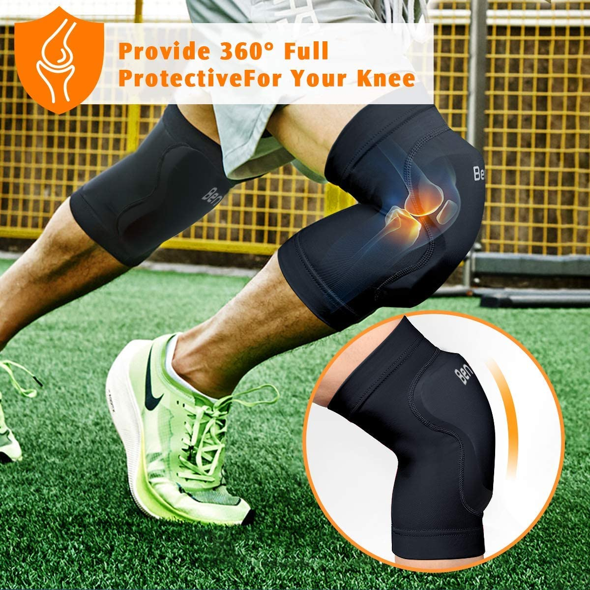1 Pair BenKen Protective Knee Pads for Volleyball Dance Basketball Riding Outdoor Sport,Collision Avoidance Anti-slip Rubber Knee Protector Sleeve for Men/&Women/&Teens