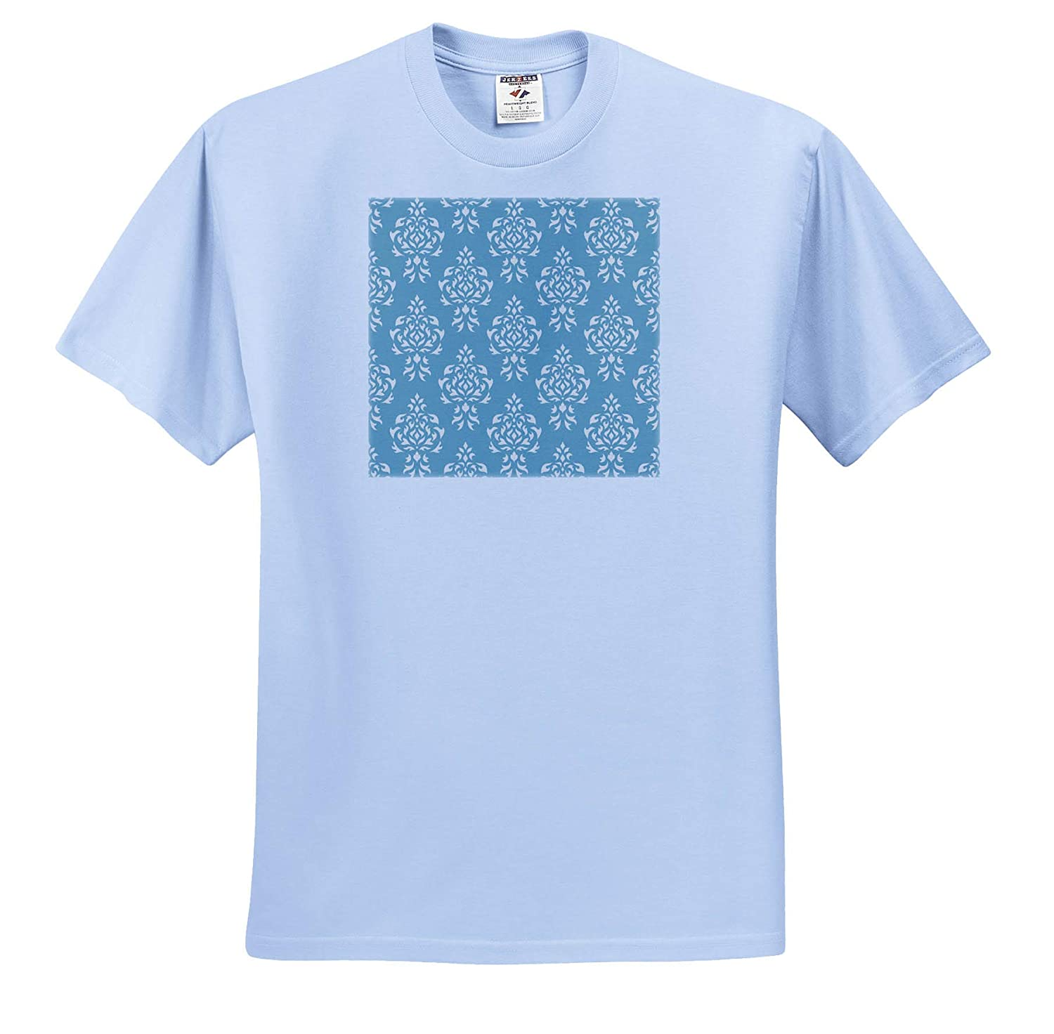T-Shirts Damask Crest Pattern in Cream on Blue 3dRose Natalie Paskell Damask Crest Pattern