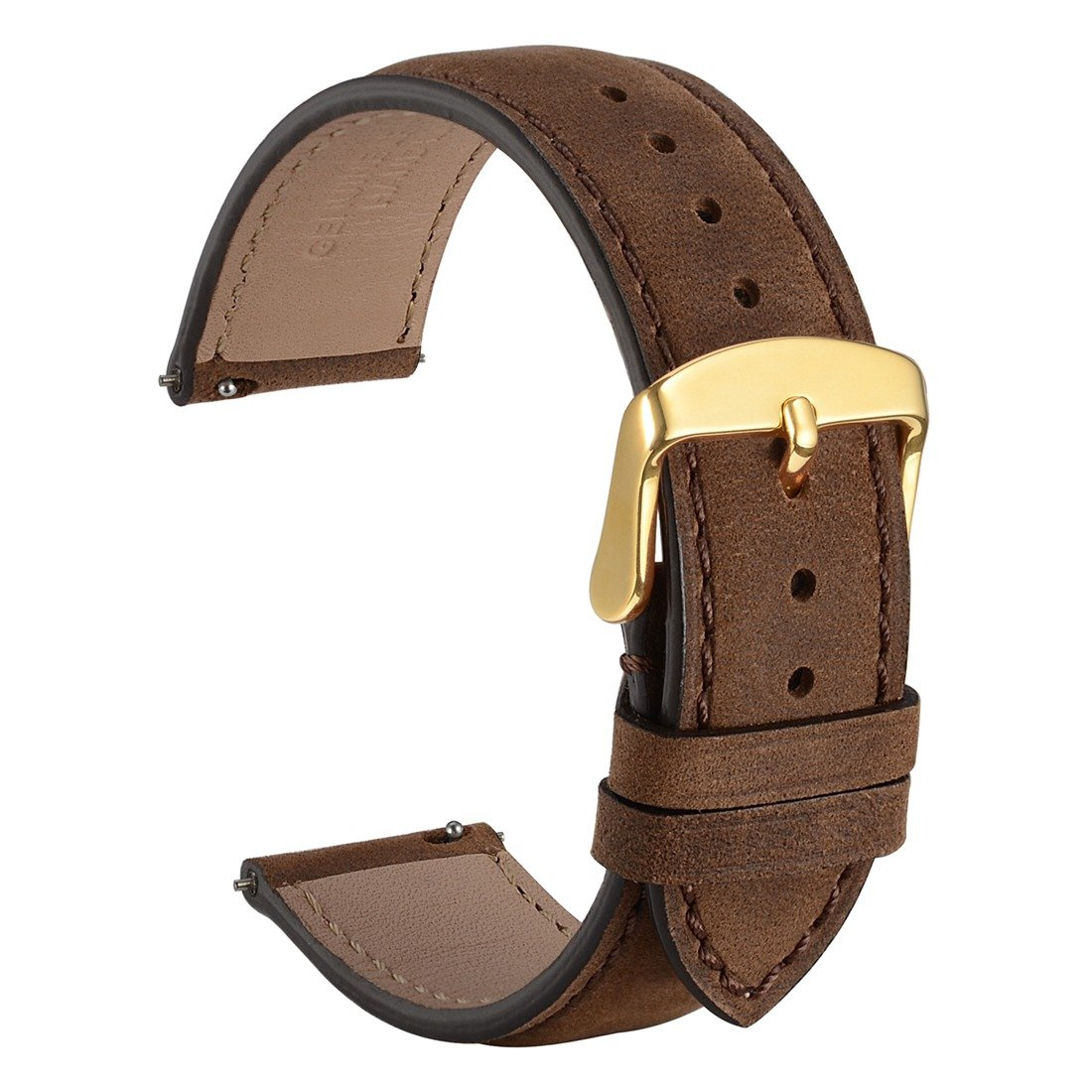 WOCCI 18mm Suede Vintage Leather Watch Band with Gold Buckle, Quick Release Strap (Dark Brown with Tone on Tone Seam)