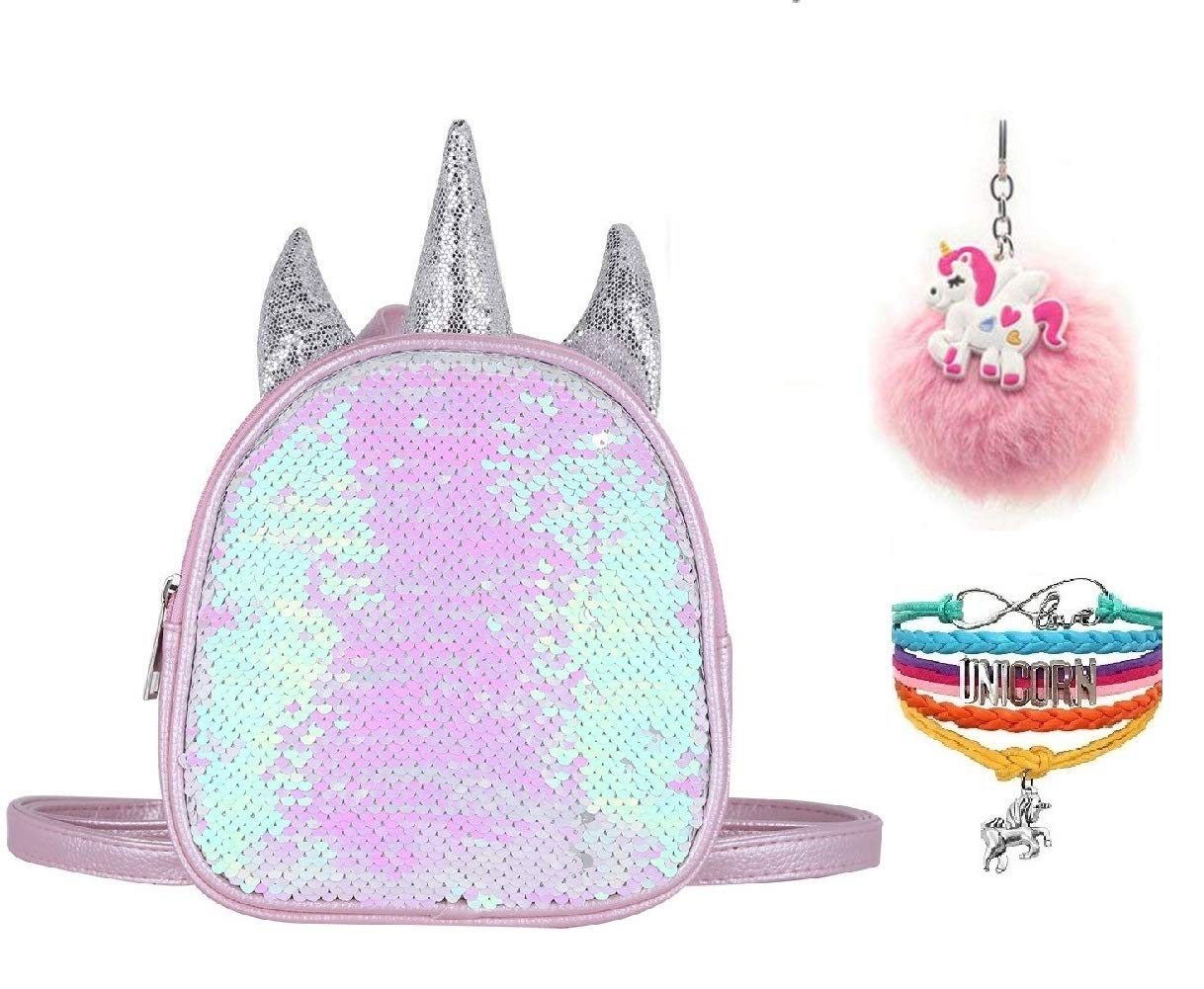 Fanovo Mermaid Sequin Unicorn Backpack Mini Satchel Daypack Travel Shoulder Bag Pink 7 inch + Unicorn Keychain + Unicorn Bracelet