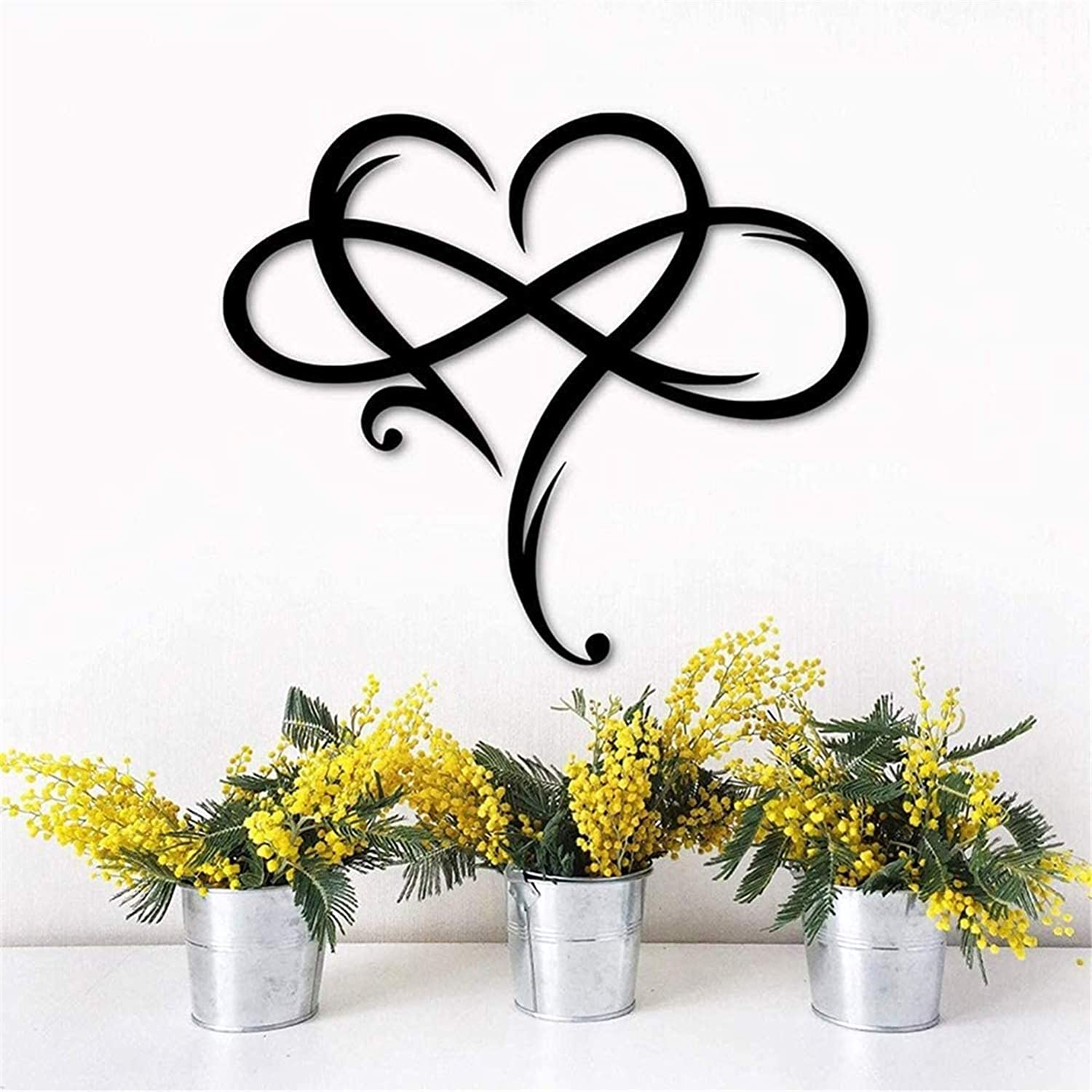 Infinity Heart Steel Wall Decor Metal Wall Art, Metal Infinity Heart Sign, Always and Forever Infinity Symbol and Heart Wall Decor for Living Room Sculptures, Wedding Metal Wall Decals (Large)