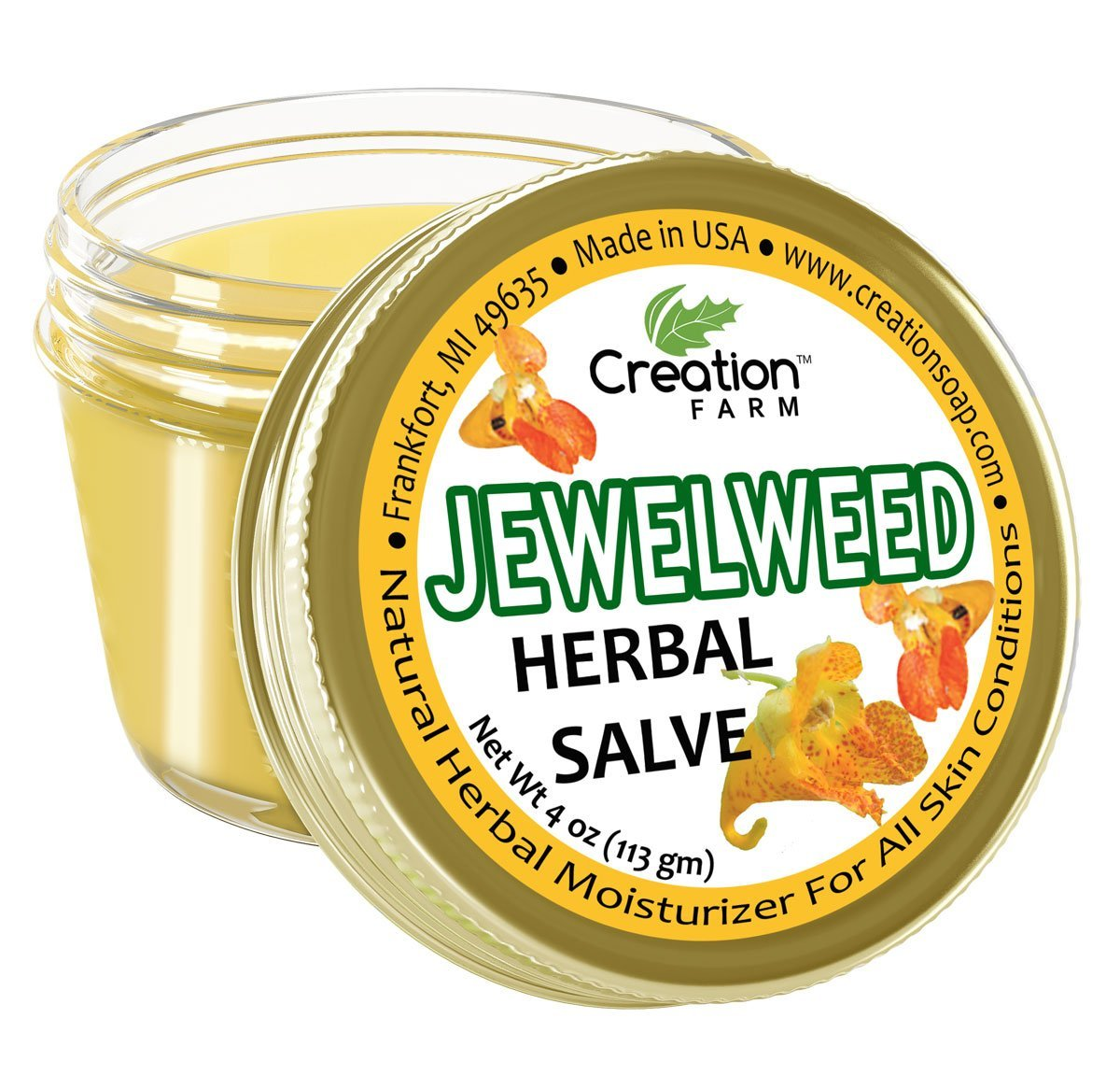 Creation Farm Jewelweed Balm, Poison Ivy Remedy, Herbal Tea Tree Salve Jar 4 oz Sensitive Skin Treatment Helps Tattoo's, Soothes Rashes, Skin Fungus, No Gluten, No Parabens, No Soy, No GMO by Creation Farm