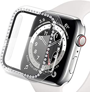 Yolovie Compatible for Apple Watch Case with Screen Protector 40mm for SE Series 6 5 4, Bling Cover Crystal Diamonds Rhinestone Bumper Protective Frame for iWatch Girl Women (40mm Clear)