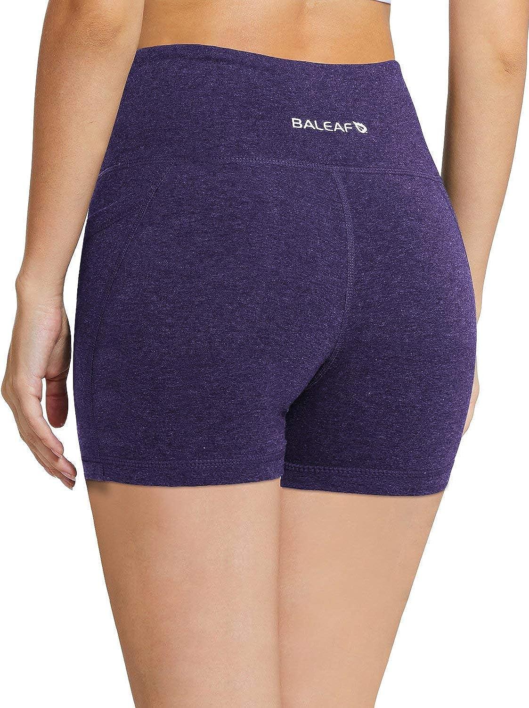 "BALEAF Women's 8"" /5"" /2"" High Waist Workout Biker Yoga Running Compression Exercise Shorts Side Pockets (Regular/Plus Size): Clothing"