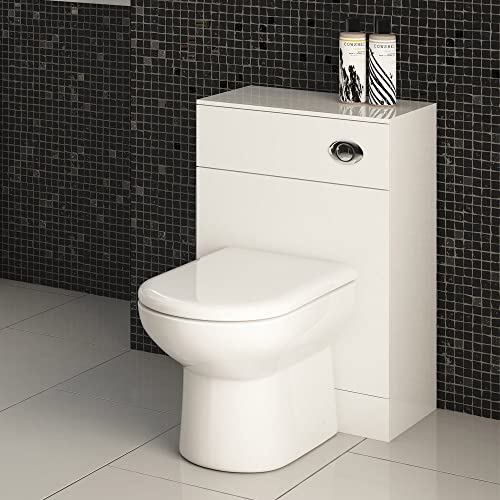 VeeBath Linx White Gloss Back To Wall Toilet Wc Vanity Cabinet with BTW Pan 500mm x 300mm - D Shaped Toilet With Concealed Cistern