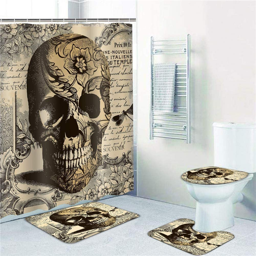 Vintage Skull Shower Curtain Bath Mat Toilet Cover Rug Bathroom Decor Set