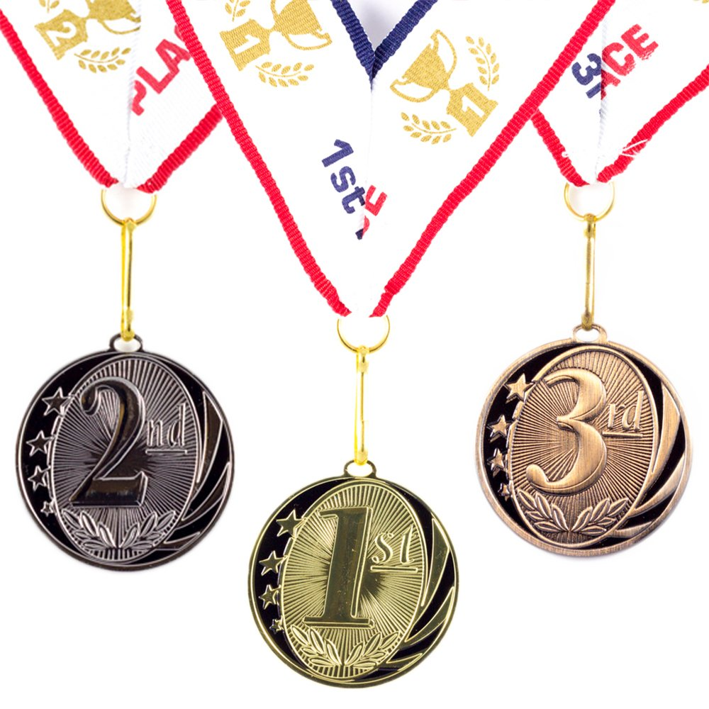 All Quality 1st 2nd 3rd Place MidNite Star Award Medals - 3 Piece Set (Gold, Silver, Bronze) Includes Neck Ribbon