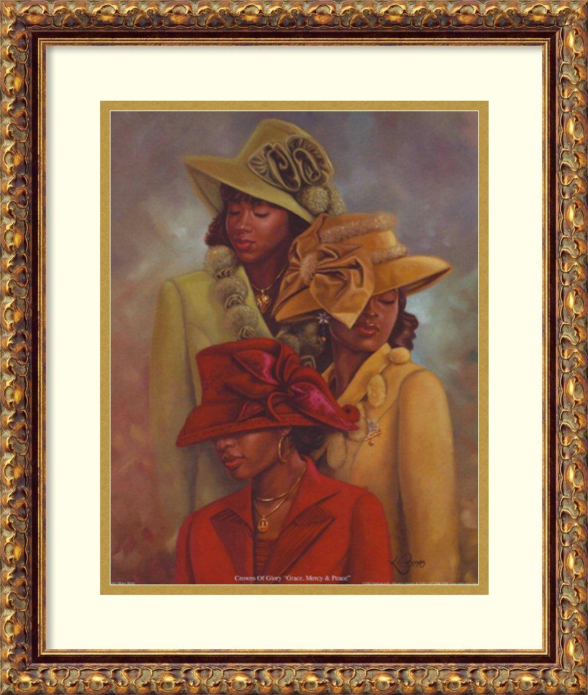 アートフレーム印刷' Crowns of Glory : Grace、Mercy & Peace ' by Henry Lee Battle Size: 17 x 20 (Approx), Matted ブラウン 3925261 Size: 17 x 20 (Approx), Matted Antique Bronze,mat:white B01N354OHS