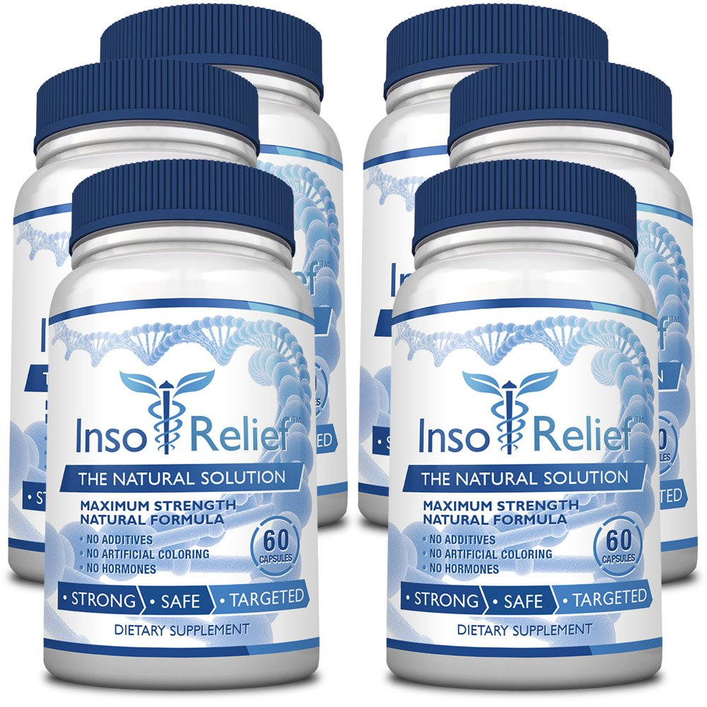 InsoRelief - The #1 Choice for Combating Insomnia - 100% Natural and Non-Habit Forming - With Valerian, Hops, Melatonin, L-ornithine - Improves Sleep Quality - 100% Money Back - 6 Bottles Supply