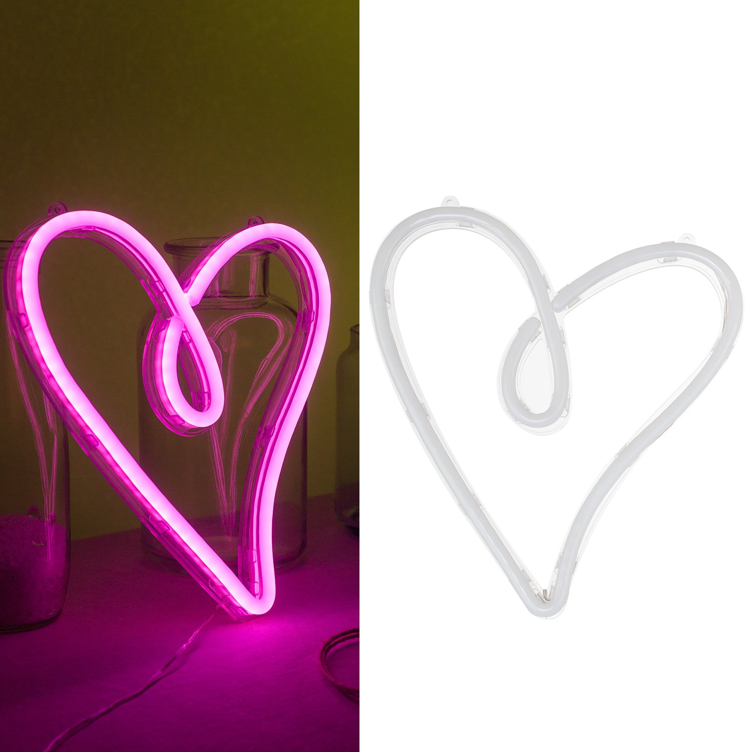 Ling's moment USB & Battery Powered Pink Heart Neon Lights Hanging Wedding Sign, Novelty Decor Lights For Bedroom For Girls Women, Sign For Bedroom Wedding Hawaii Party Wall Dacor Bridal Shower Summer