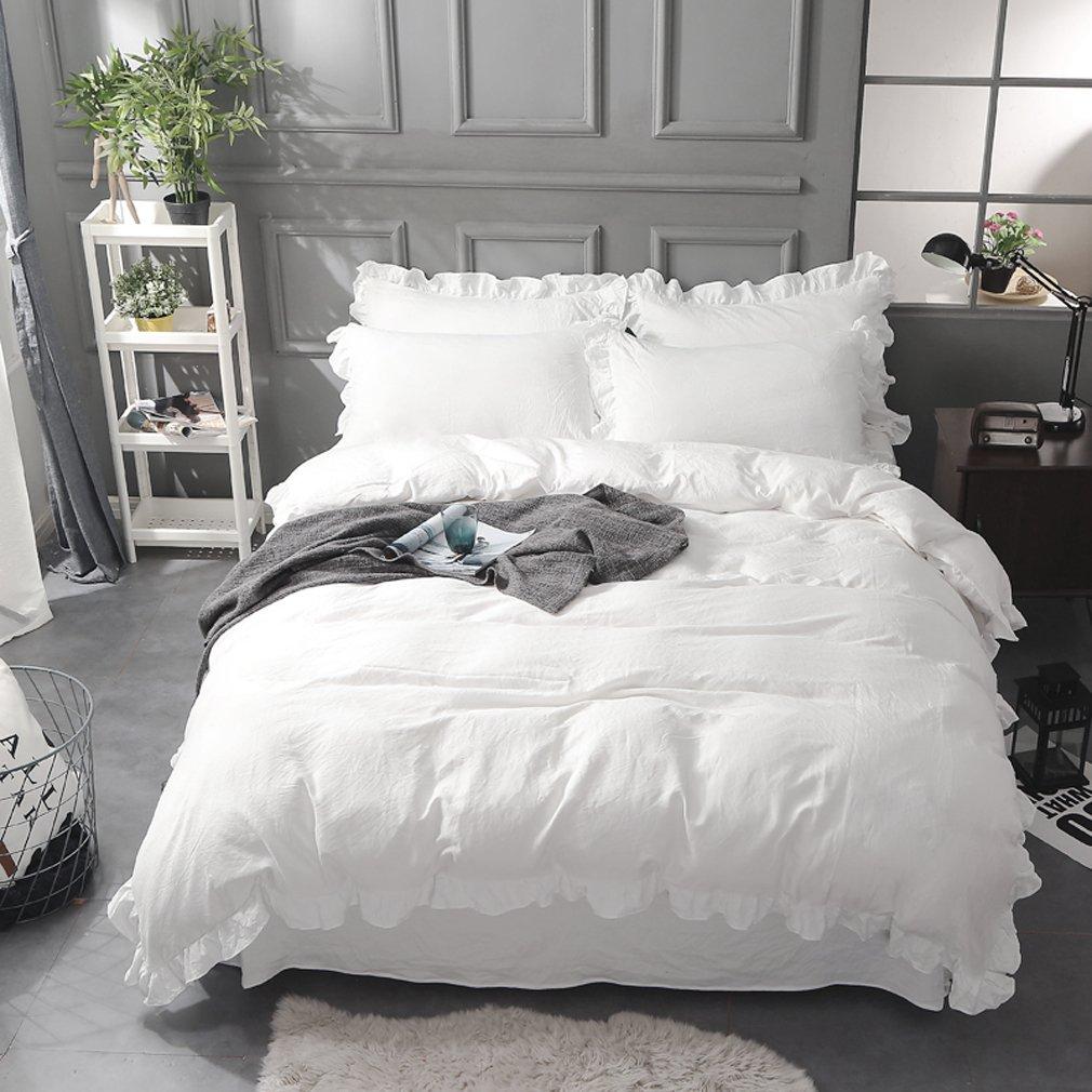 無地 フリル模様 オフホワイトのコットン掛ふとんカバー/ベッドスカート/枕カバー クイーン B077D8KXW9 ホワイト クイーン
