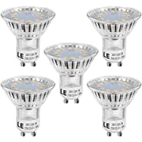 LE 3W GU10 LED Bulbs, 35W Halogen Bulb Equivalent, 250lm, Warm White 2700K, 120° Beam Angle, Pack of 5