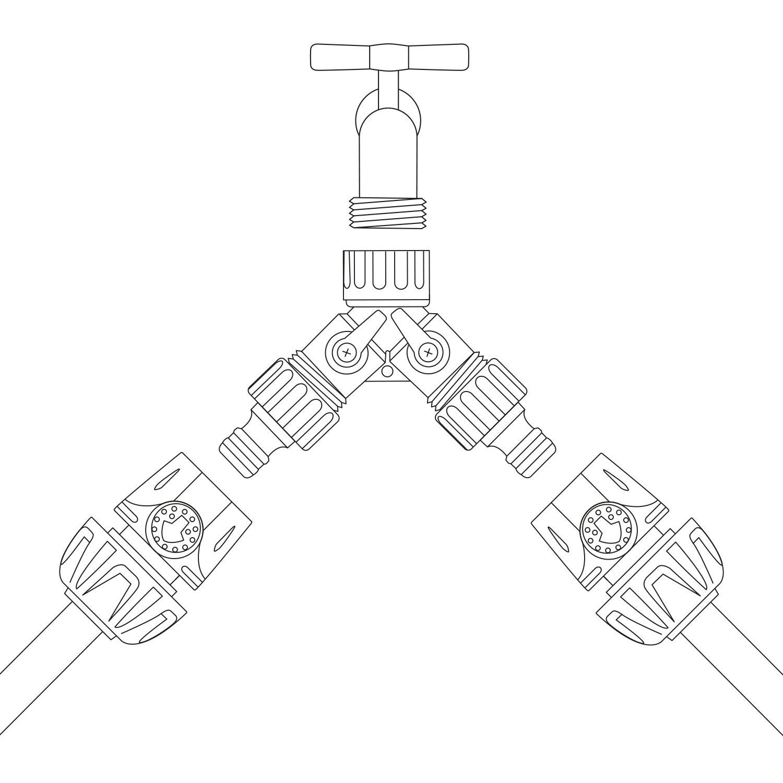 Kreator KRTGR6024 Conector Doble Para Grifo 3//4