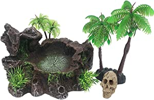 Smoothedo-Pets Reptile Platform Artificial Trunk Reptile Coconut Tree/Mini Skull Tank Decor Set Food Water Dish Bowl for Bearded Dragon,Lizard, Gecko, Water Frog,Snake