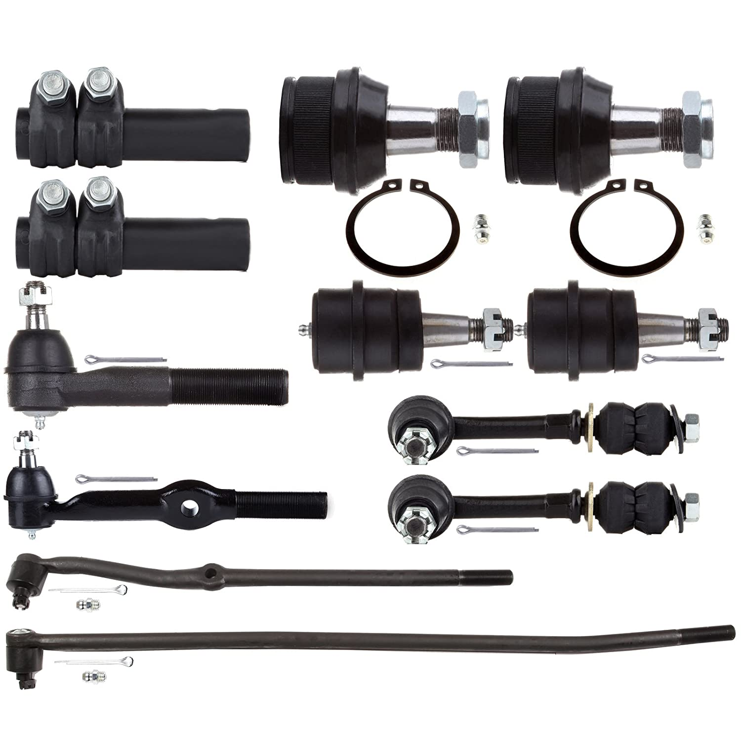 ECCPP Front Upper Lower Ball Joint Inner Outer Tie Rod Adjusting Sleeve Sway Bar Link for 1995-1997 Dodge Ram 1500 2500 4WD 12pcs K3134T K8195T