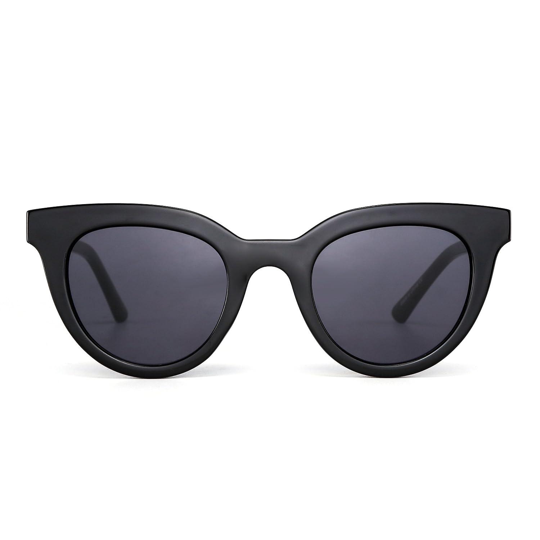 9c3221bab00 Amazon.com  Round Cat Eye Mirror Sunglasses Transparent Tinted Candy Thick Eyeglasses  Women (Black Grey)  Clothing