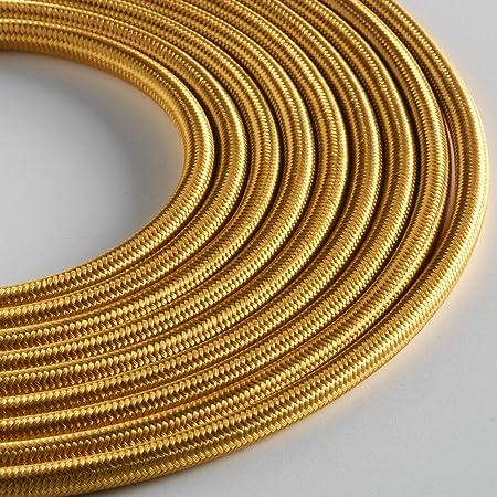 Klartext M/áxima seguridad a prueba de golpes. 5 m Cable textil redondo luminoso para iluminaci/ón 3 x 0,75 mm Atenci/ón: cable tierra incluido algod/ón amarillo mostaza