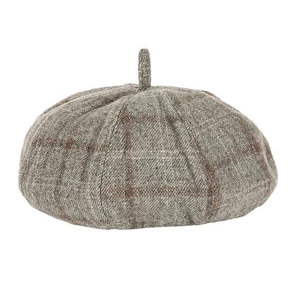 2d63e266297 Amazon.com  Wingbind Fashion Octagonal Cap Beret Salesman Newspaper Hat  Autumn And Winter Hats For Men Coffee Plaid Color Beautiful Casual Hat  Beret Cap  ...