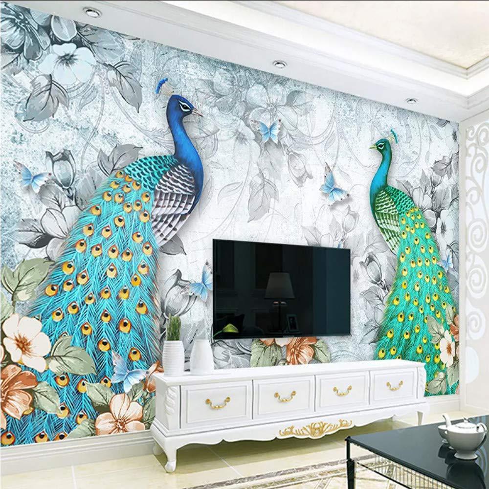 Qwerlp Benutzerdefinierte Fototapete 3D Stereo Pfau Murals Wohnzimmer Tv Sofa Wohnkultur Hintergrund Wandmalerei Moderne Tapete-350X250CM