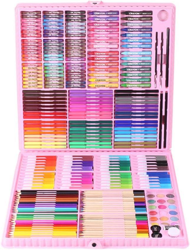 色鉛筆 絵の具セット 子供の絵セットツール260色の鉛筆クレヨンペイント絵画アートセットギフトボックス (Color : Pink)