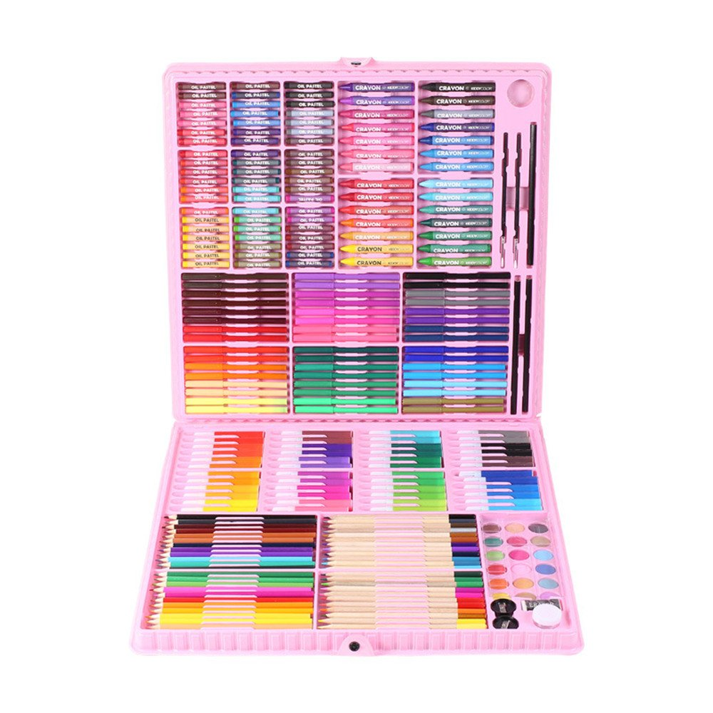 Ybriefbag Wooden Art Set Children's Painting Set Tools 260 Pieces of Colored Pencils Crayon Pencil Paint Painting Art Set Gift Box Art Supplies for Drawing (Color : Pink)