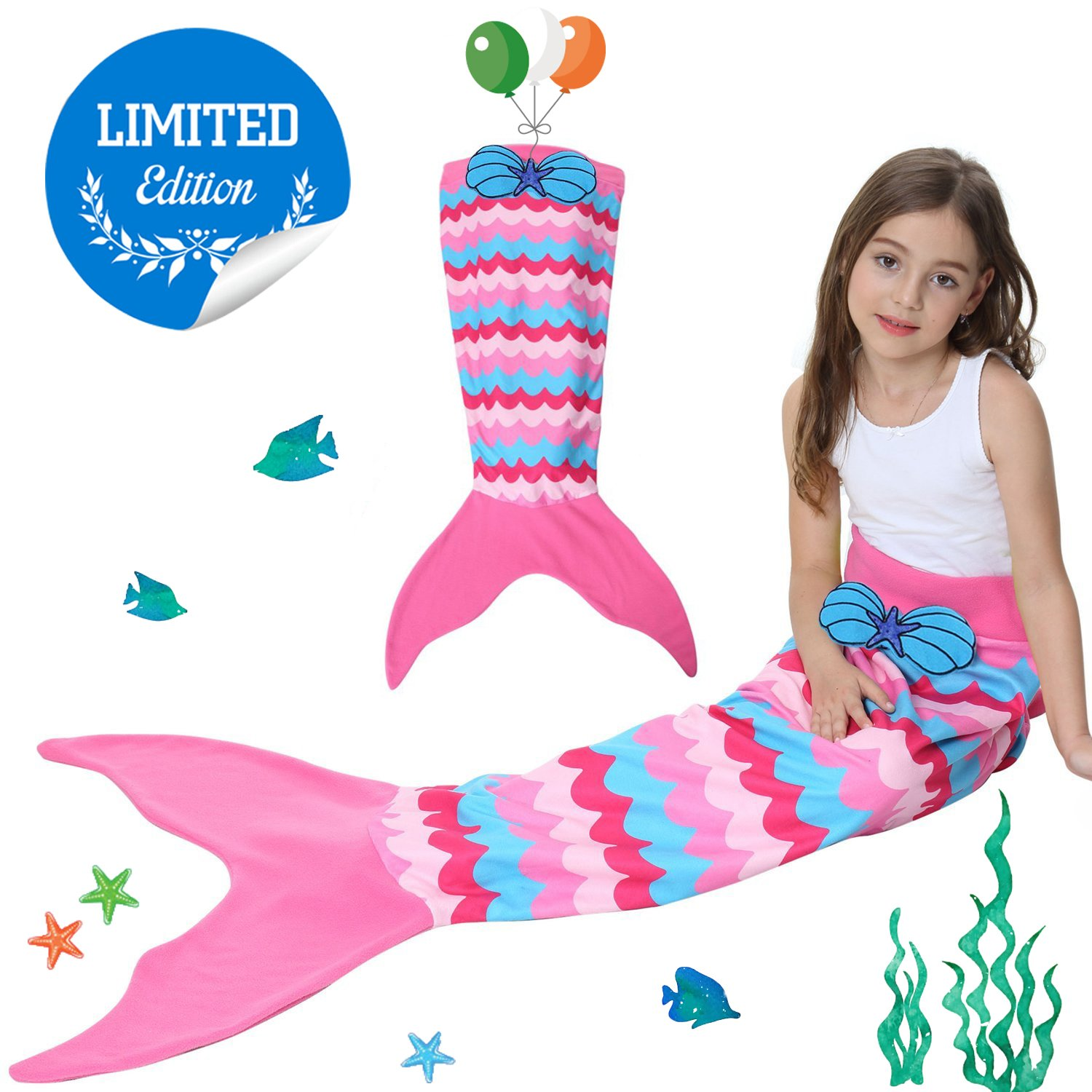Kids Mermaid Tail Blanket with Scale Pattern,Gilrs Mermaid All Season Sleeping Blankets,Kids' Bedding Toys Sleep Bags Comforter for Air Condition Sofa,Home,Travel,Camping Birthday Gifts (A Pink cake) by CHARMCZ (Image #1)