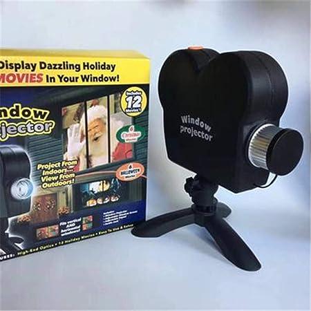 Opinión sobre XATAKJJ Navidad Halloween Proyector holográfico 12 películas Fiesta de Halloween Navidad Papá Noel Lámpara de proyección Ventana Proyector de películas, como se Muestra, Enchufe del Reino Unido
