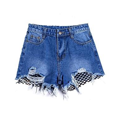 e2be2fbb2b6 Amazon.com: Miraclelove Women's Frayed Raw Hem Denim Shorts with ...