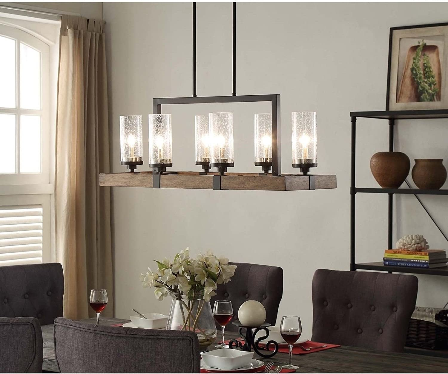 Vineyard Rustic Style 6-Light Glass Fixture Metal And Wood Ceiling Chandelier