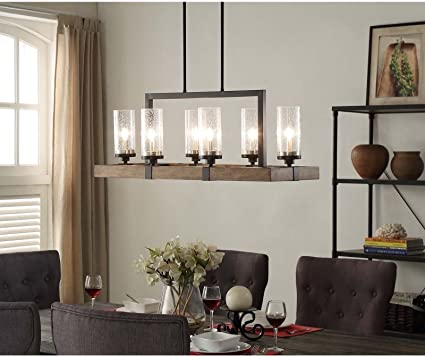Vineyard Rustic Style 6 Light Glass Fixture Metal And Wood Ceiling Chandelier GH45843