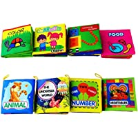 Coolplay Baby's First Non-Toxic Soft Cloth Book Set- Crinkle,Colorful - (Friction with a rustling Sound) - Pack of 8