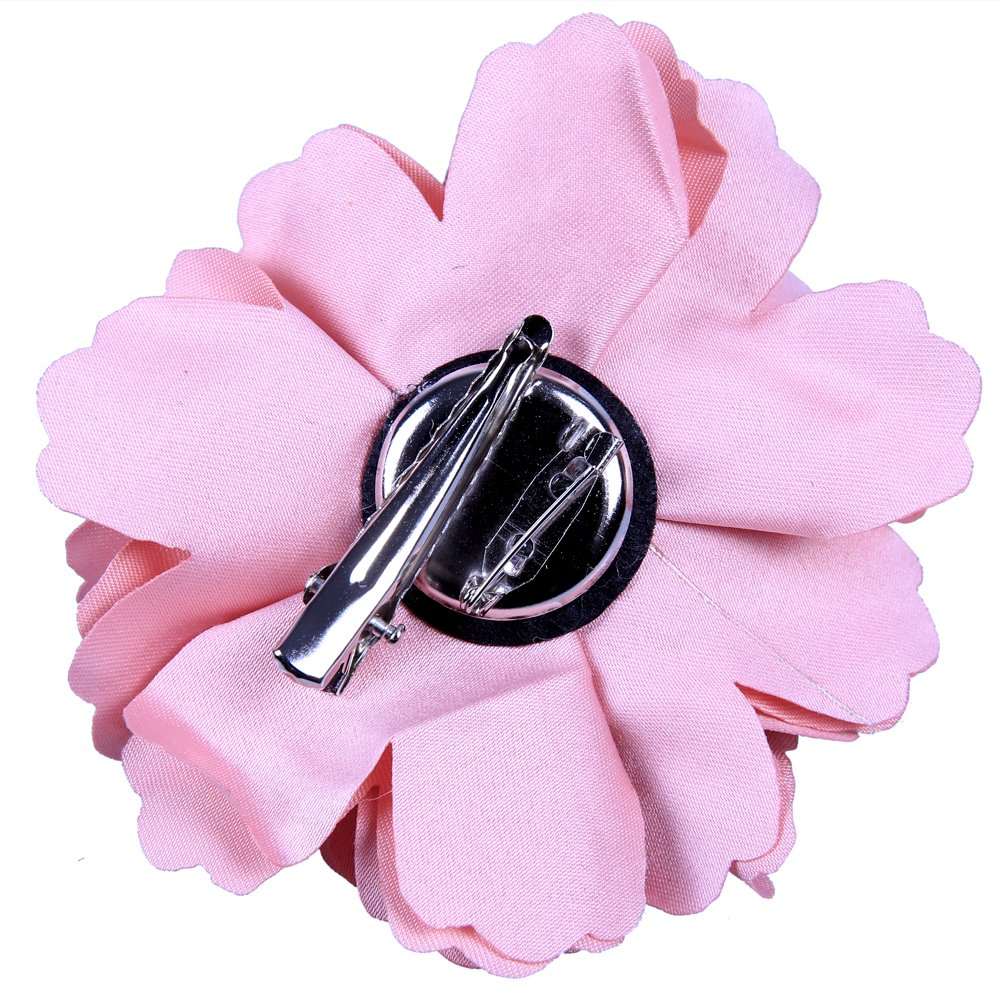 Amazon anleolife fabric pink flower hair clips corsage brooch amazon anleolife fabric pink flower hair clips corsage brooch hairpinshair barrettes for women headwear 6pcslotpink beauty mightylinksfo