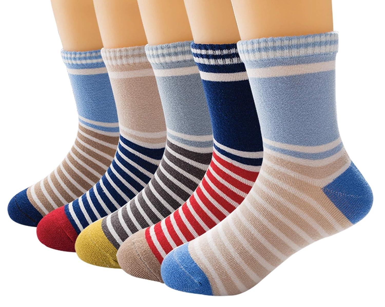 Value Pack 10prs Boys Stripe Cotton Dress Socks Royal Blue Socks for Kids Boys