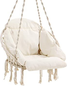 Amazon Com Songmics Hanging Chair Hammock Chair With Large Thick Cushion Swing Chair Holds Up To 264 Lb For Terrace Balcony Garden Living Room Scandinavian Shabby Chic Cloud White Ugdc042m01 Furniture Decor