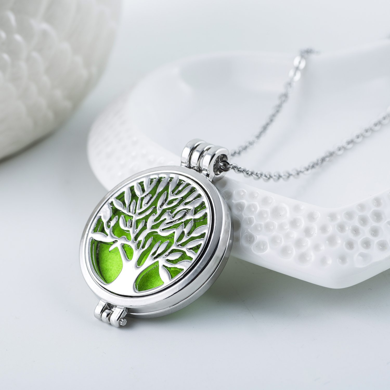 Essential Oils Diffuser Necklace Tree of Life Pendant 316L Stainless Steel Locket
