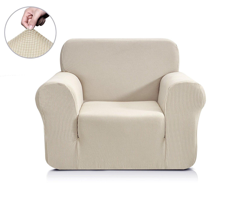 (Chair, Ivory White) - CHUN YI Jacquard Sofa Covers 1-Piece Polyester Spandex Fabric Slipcover (Chair, Ivory white) B06ZY5KJ5H  アイボリーホワイト Chair