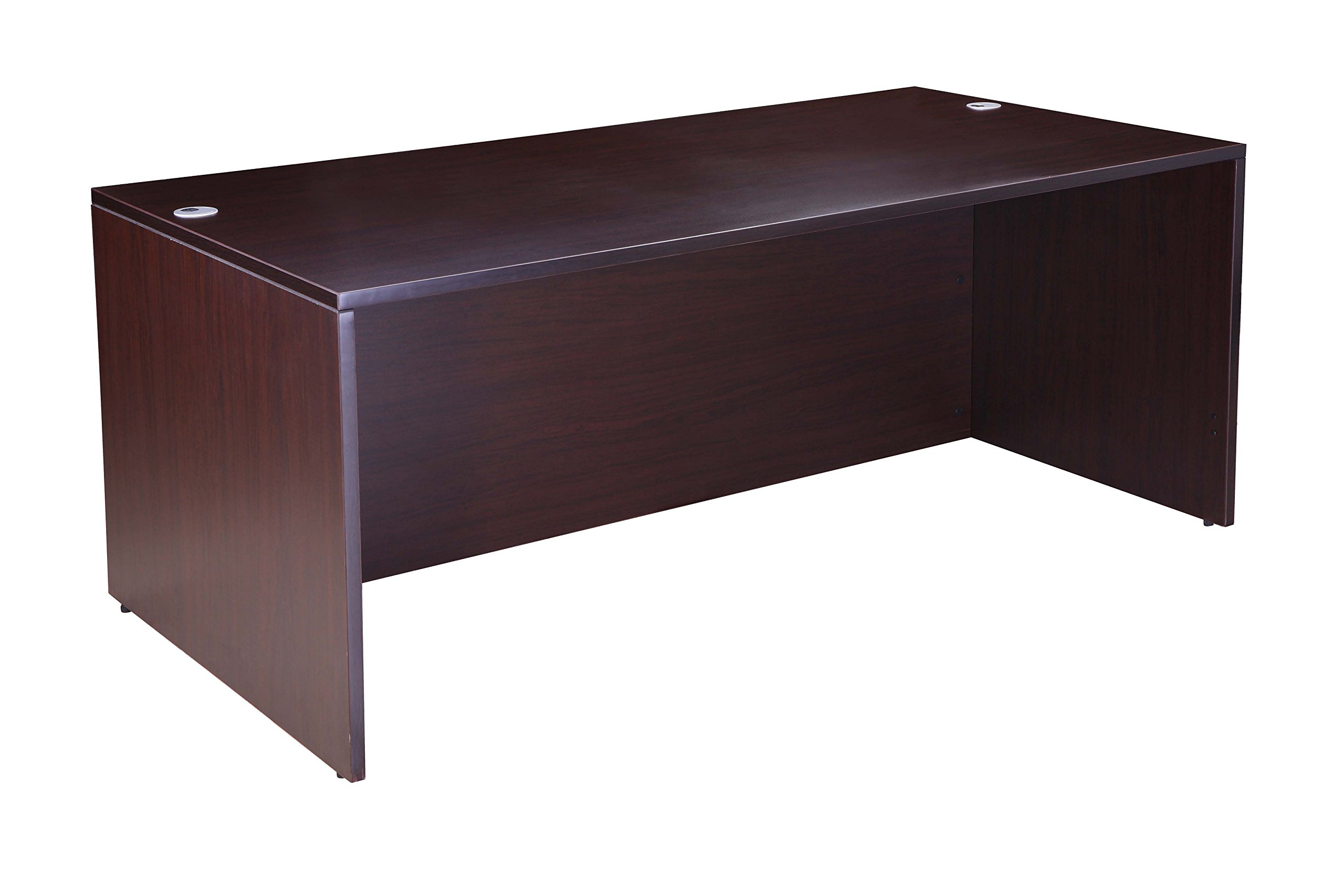 Boss Office Products Holland 71'' Executive U-Shape Desk with File Storage Pedestal and Hutch, Mocha by Boss Office Products (Image #2)