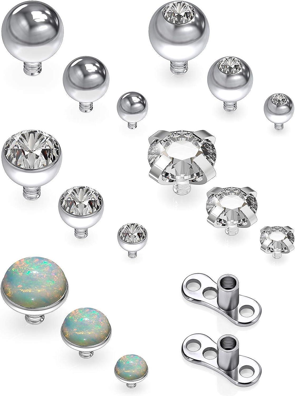 SCERRING 14G Dermal Piercing Jewelry Anchor Tops and Base Titanium Microdermals Piercing for Women Men Opal CZ Ball 2mm 3mm 4mm 17PCS