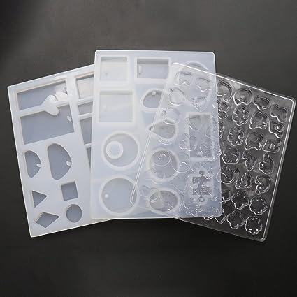 Moldes de silicona para fundición de resina, 3 piezas, para joyería de bricolaje
