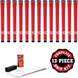 SuperStroke S-Tech Standard Red - 13 piece Golf Grip Kit (with tape, solvent, vise clamp)