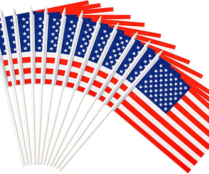 "Anley USA Stick Flag, American US 5x8 inch Handheld Mini Flag with 12"" White Solid Pole - Vivid Color and Fade Resistant - United States 5 x 8 inch Hand Held Stick Flags with Spear Top (1 Dozen)"