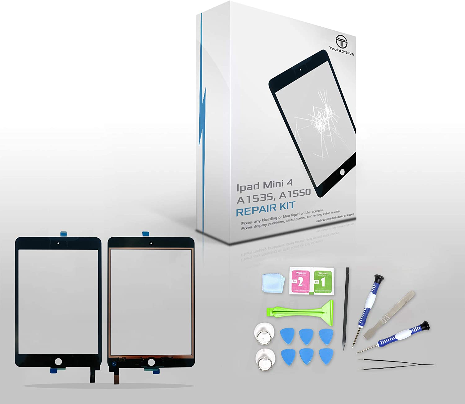 "TechOrbits Replacement 7.9"" Touch Screen Digitizer Glass for Ipad Mini 4 (A1535, A1550) AT&T/T-Mobile/Sprint/Verizon, GSM CDMA Black with Repair Kit."