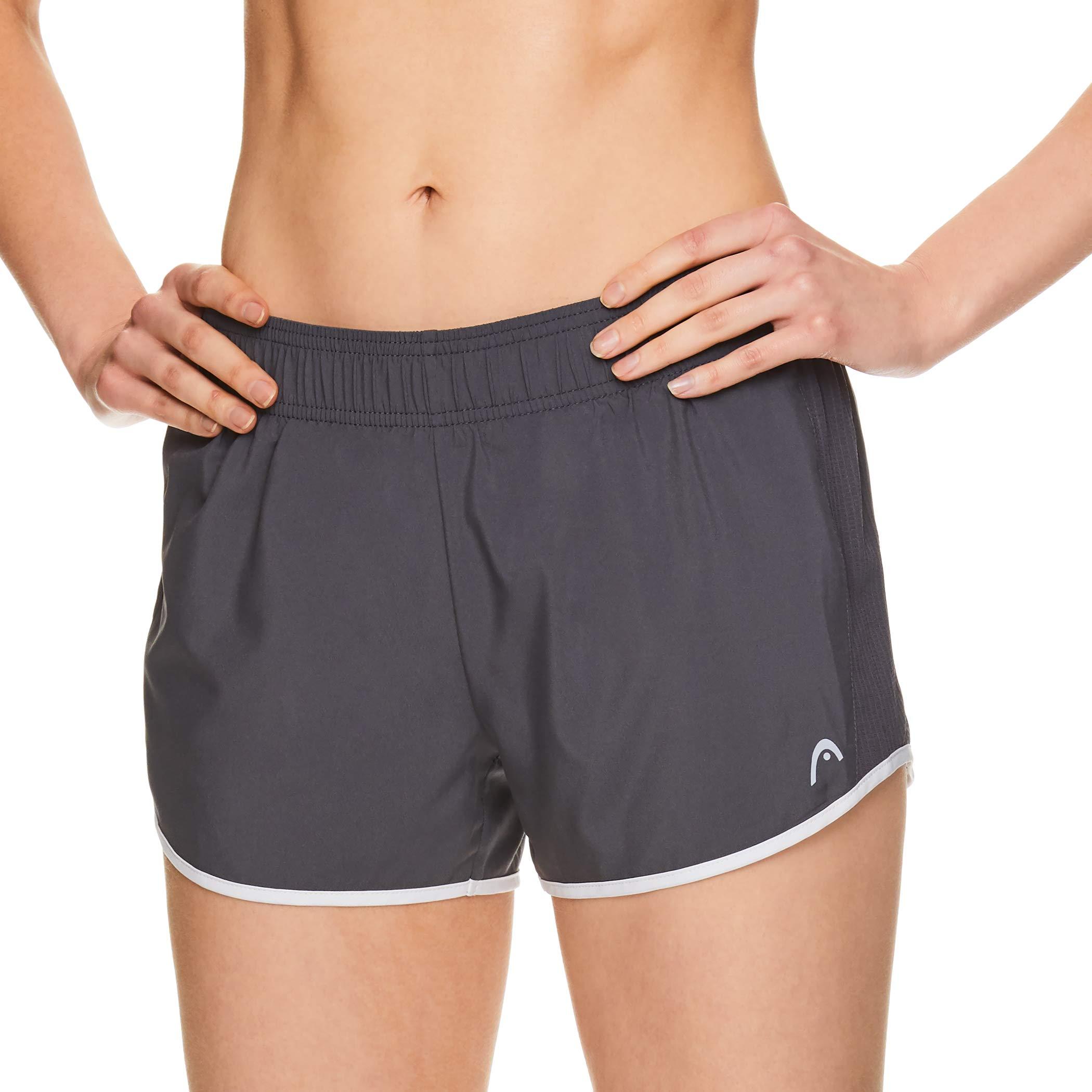 HEAD Women's Athletic Workout Shorts - Polyester Gym Training & Running Short - Ally Medium Grey, X-Small